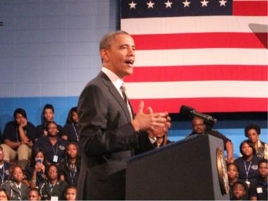 President Barack Obama spoke at Hyde Park Academy Friday.