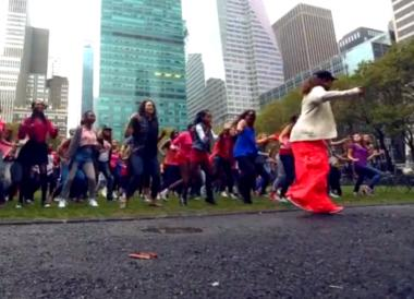 "Dancers perform in a scene from the video for ""Break The Chain,"" a song written and recorded specifically for the ""One Billion Rising"" initiative."