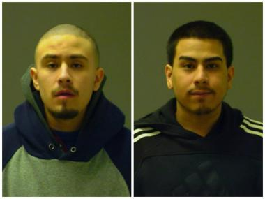 Carlos Alvizo, 18, of the 5600 block of South Homan Avenue (left), and Elias Martinez, 21, of the 2300 block of South Trumbull Avenue, were each charged with two counts of attempted armed robbery after they allegedly tried to rob two 15-year-old girls in McKinley Park on Friday.