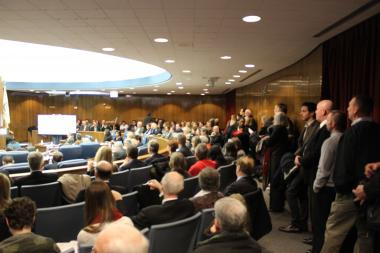 It was standing room only in the Cook County Board meeting room for the Commission on Chicago Landmarks Thursday.