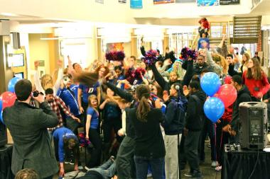 "DePaul University students joined the men's and women's basketball teams Thursday afternoon to film their own version of the viral sensation ""Harlem Shake."""