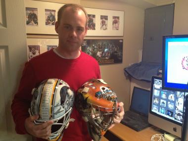 Marist High School graduate Don McClelland designs hockey goalie masks for his company, macmasks.com.
