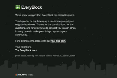 Final message from EveryBlock.