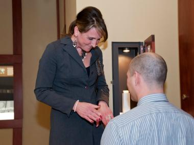 "Tracey Gawel said ""yes"" after John Underwood proposed to her Wednesday at the Field Museum's Grainger Hall of Gems."