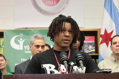 William Harper High School Senior Arjay Howard said during a Thursday, Feb. 7, 2013, news conference that being a member of the Becoming A Man program has saved him from the streets and has given him motivation to complete high school and then attend college.