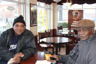 William Hunt (from l.), 64, and Cleveland Ford, 75, said they meet at least once a week at the McDonald's restaurant at 7900 S. King Drive in Chatham to grab a cup of coffee and socialize.