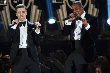 Singer Justin Timberlake (left) and rapper Jay-Z perform at the 2013 Grammy Awards earlier this month.