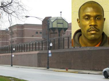 Keith King is in Cook County Jail (background), accused of   threatening to blow up a South Side day care center.