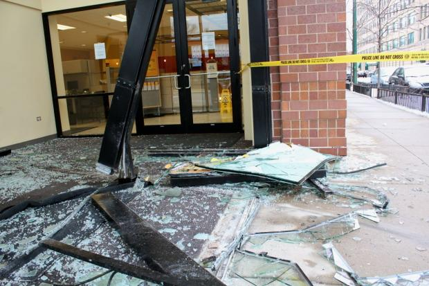 A vehicle crashed into the TCF Bank at the corner of Southport and Fullerton early Friday morning, leaving the front entrance heavily damaged.