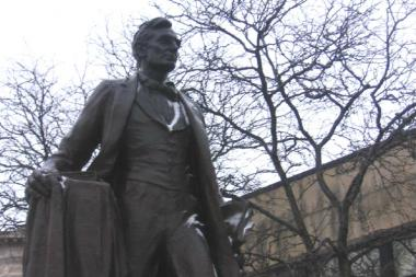 Honest Abe is ready to celebrate Presidents Day in Lincoln Square.