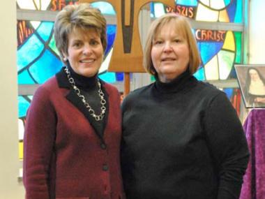 Newly-named Mother McAuley President Mary Acker Klingenberger (left) with Principal Claudia Woodruff.