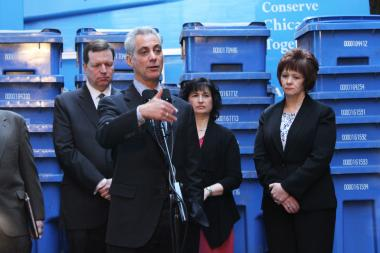 Mayor Rahm Emanuel speaking about the city's rollout of curbside recycling pickup in February. Emanuel marks Earth Day with a $2.6 million grant to back expansion of the blue-cart recycling program Monday.
