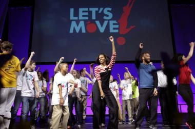 "Michelle Obama celebrates the third anniversary of the ""Let's Move"" fitness campaign."