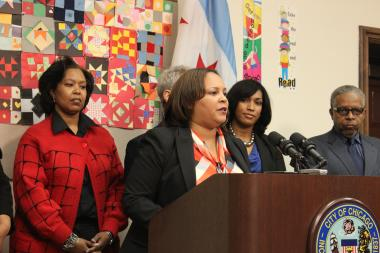 Natashia Holmes was introduced by Mayor Rahm Emanuel at a Monday news conference as the new 7th Ward alderman.