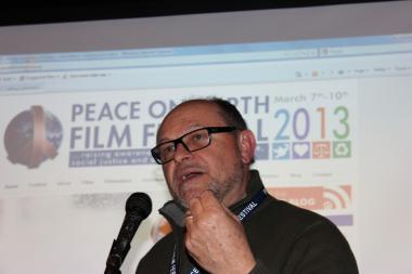 Nick Angotti, the Peace On Earth Film Festival's co-founder and executive director, discusses the public service announcements at a festival preview Feb. 21.
