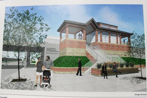 A conceptual drawing of a new Metra station planned for Peterson and Ravenswood avenues.