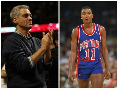 Mayor Rahm Emanuel and former NBA star Isiah Thomas, a Chicago West Side native, announced an expansion of the Windy City Hoops program.
