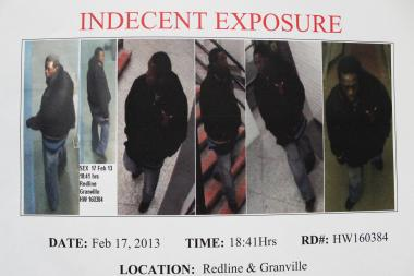 Police released photos of a man they say exposed himself on a North Side train.