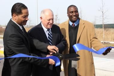 Gov. Pat Quinn and Ald. Anthony Beale (9th) helped unveil job-creating construction at Pullman Park Monday. (Feb. 18, 2013)