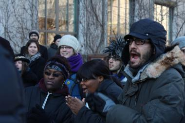 Alex Goldenberg (left) an organizer for Fearless Leadership by the Youth, was one of many monitored by an unsanctioned undercover action by University of Chicago police at a Feb. 23 protest for expanded trauma care services on the South Side.