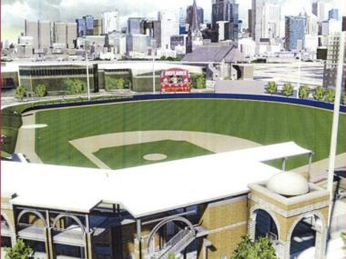 Rendering of the soon-to-be-built baseball stadium at University of Illinois at Chicago, which will be named after former Flames star Curtis Granderson.