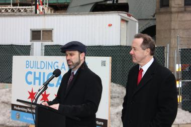 Chicago Department of Transportation Commissioner Gabe Klein (left) and Chicago Transit Authority President Forrest Claypool asked for the public's patience at a press conference about service interruptions.