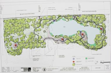 The conceptual design of the new park proposes kayak launches and designated fishing areas along an asphalt path circling the pond.