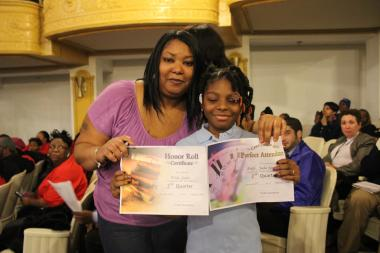 "Janice Thompson said West Side school closures would expose kids to more ""gang and drug violence"" instead of safe classrooms. Her niece, Jada Pride, said she's an honor- roll student with years of perfect attendance."
