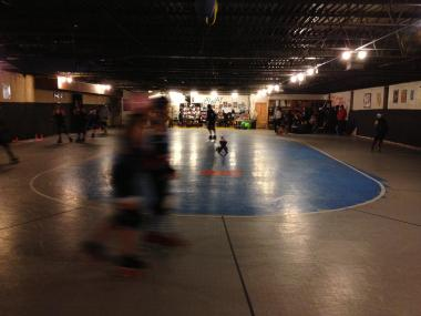 The Windy City Rollers' current practice site has cement walls just inches from the playing surface.