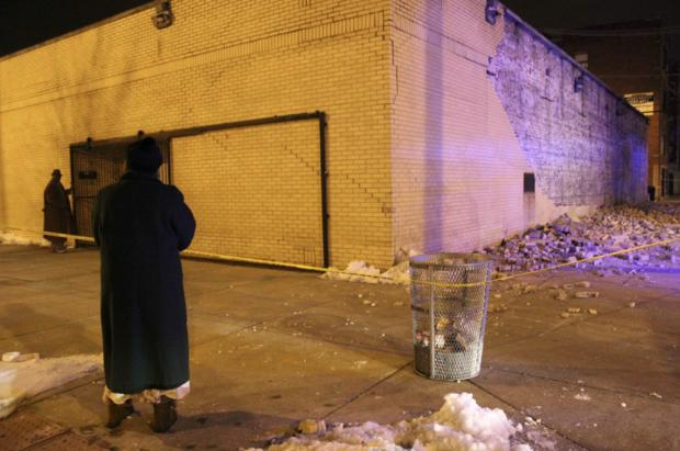 An exterior wall at Zion Healing Temple collapsed Thursday night.