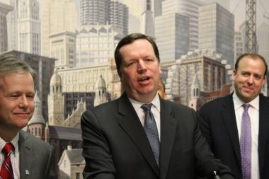 "Flanked by Aldermen James Cappleman and Brendan Reilly, Ald. Joe Moore insists, ""There is no disunity"" between rival progressive groups in the City Council."