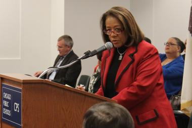 CPS CEO Barbara Byrd-Bennett spoke at last month's Board of Education meeting — with CTU President Karen Lewis seated behind her.