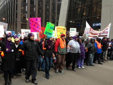 Thousands marched in the Loop Wednesday as part of a protest against CPS school closings.