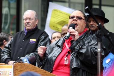 """It's not over, brothers and sisters, until we say it's over,"" said Karen Lewis at a CPS school closing protest in March. The CTU leader is planning another major protest ahead of the May 22 vote on school closings."