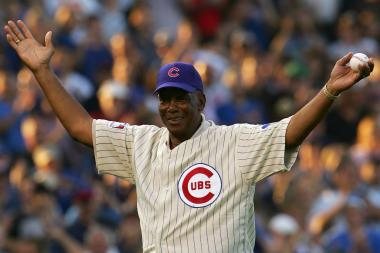 Baseball Hall of Famer and former Chicago Cub Ernie Banks about to throw the first pitch at Wrigley Field on October 6, 2007.