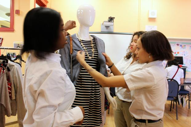 "Students at Young Women's Leadership Charter School of Chicago used clothing from three 900 North Michigan Shops to study the ""do's"" and ""don'ts"" of dressing professionally."