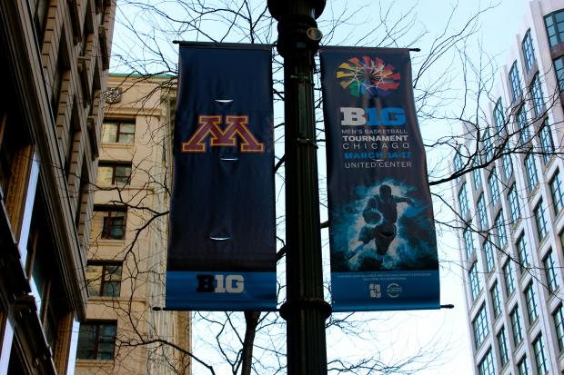 The State Street Lightscape installation, a mixture of colors, lights and sounds, added basketball court audio and Big Ten school banners to celebrate the championship games.