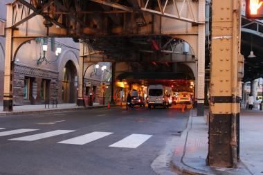 A 24-year-old man died in a car crash in the Loop early Tuesday, according to the Cook County Medical Examiner's Office.