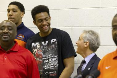 Mayor Rahm Emanuel laughs with Simeon star Jabari Parker and coach Robert Smith (left) to promote the Chicago Elite Basketball Classic last December. The mayor hasn't extended the same sort of love to the city basketball championships.