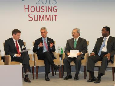 Mayor Rahm Emanuel appeared at a New York housing panel with Jacksonville, Fla. Mayor Alvin Brown (far r.) and San Francisco Mayor Edwin Lee (inner r.).