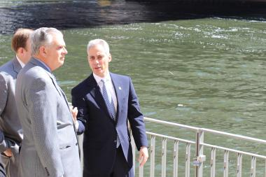 Mayor Rahm Emanuel lays out plans for the Riverwalk project along the Chicago River downtown for U.S. Transportation Secretary Ray LaHood.