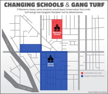 Students at Manierre Elementary might have to switch to Jenner Elementary Academy of the Arts in River North as part of a plan to consolidate schools. But that means they'll cross into territory controlled by the Gangster Disciples.