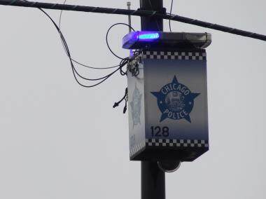 A Chicago Police blue-light security camera