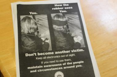 The Town Hall Police District is aggressively trying to educate people about how to prevent robberies with flyers like this.