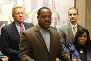 Aldermen Bob Fioretti (from left), Roderick Sawyer, Nick Sposato and Toni Foukes are among the nine city council members who formed the Progressive Reform Coalition to advance their issues.