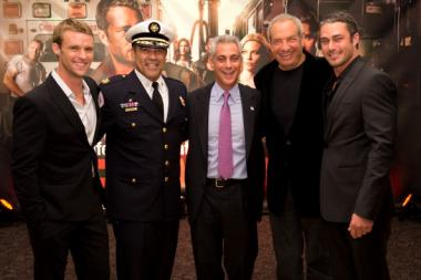 (L-R) Jesse Spencer, Chicago Fire Department Commissioner Jose Santiago, Chicago Mayor Rahm Emanuel, Dick Wolf and Taylor Kinney attend NBC's 'Chicago Fire' premiere at the Chicago History Museum on October 2, 2012 in Chicago, Illinois.