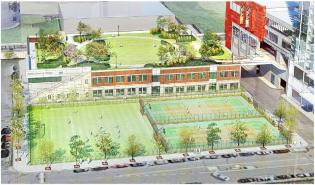 Recent renderings of the public park proposed for the roof of a British School location in the South Loop