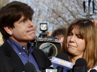 Former governor Rod Blagojevich and wife Patti outside his home March, 14 2012. Blagojevich reported to federal prison the next day.