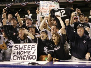 White Sox fans celebrate during the 2005 World Series.