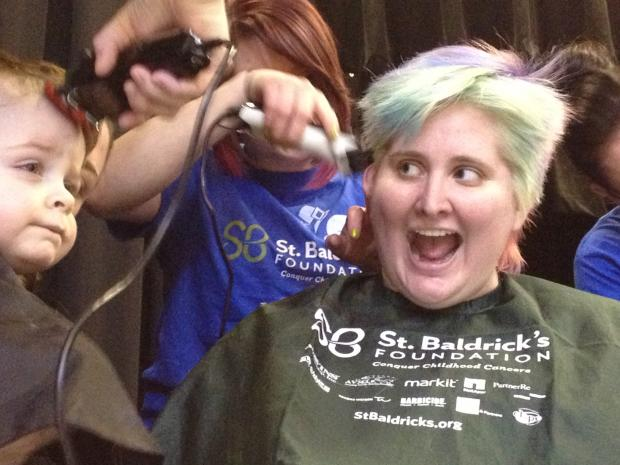 St. Thecla School held a fundraiser for St. Baldrick's in which 77 people participated and had their heads shaved.